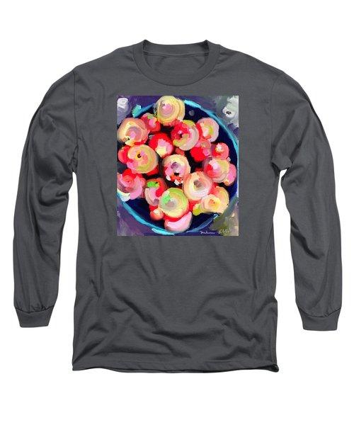 Basket Of Apples At Rockport Farmer's Market Long Sleeve T-Shirt by Melissa Abbott