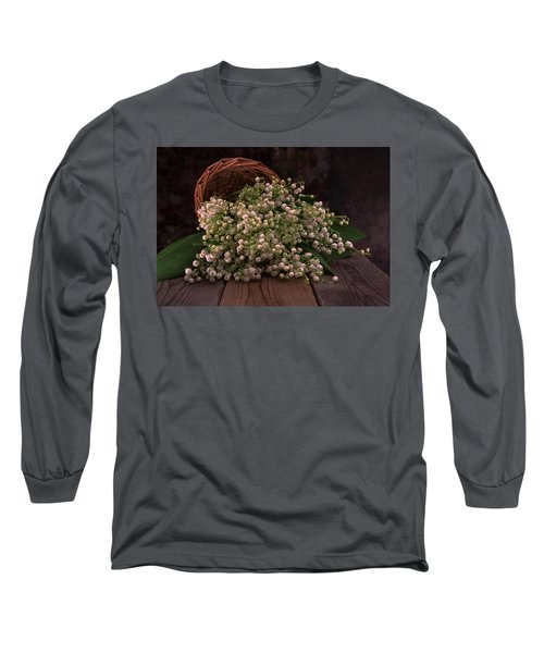 Long Sleeve T-Shirt featuring the photograph Basket Of Fresh Lily Of The Valley Flowers by Jaroslaw Blaminsky