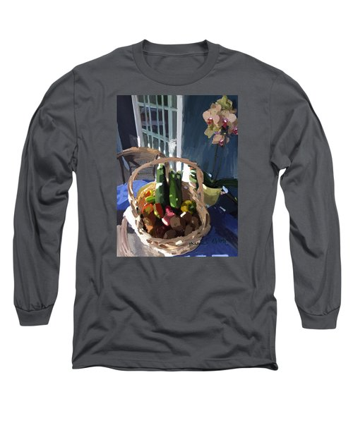 Basket Of Veggies And Orchid Long Sleeve T-Shirt
