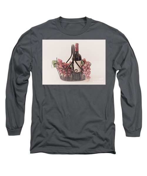 Basket Of Wine And Grapes Long Sleeve T-Shirt