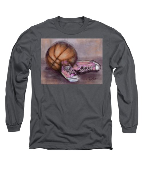 Basketball And Pink Shoes Long Sleeve T-Shirt by Dani Abbott