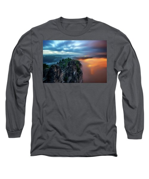 Bastei Bridge Night View, Saxon Switzerland, Germany Long Sleeve T-Shirt