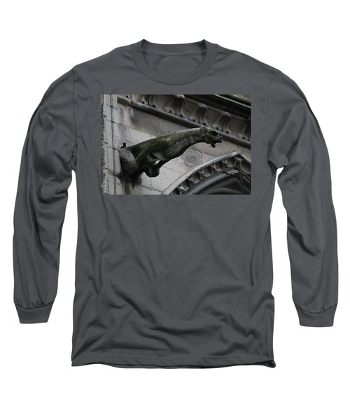 Long Sleeve T-Shirt featuring the photograph Bat Eared Dog Gargoyle Of Notre Dame by Christopher Kirby