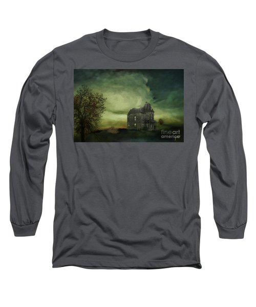 Long Sleeve T-Shirt featuring the mixed media Bates Residence by Jim  Hatch
