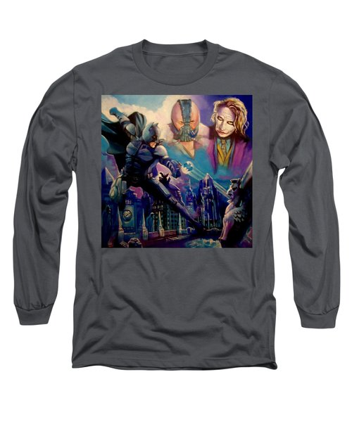 Long Sleeve T-Shirt featuring the painting Batman by Paul Weerasekera