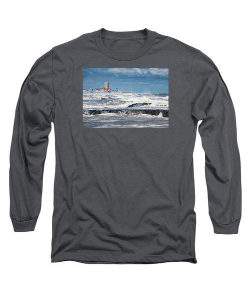 Long Sleeve T-Shirt featuring the photograph Battering The Seawall At Shark River Inlet by Gary Slawsky