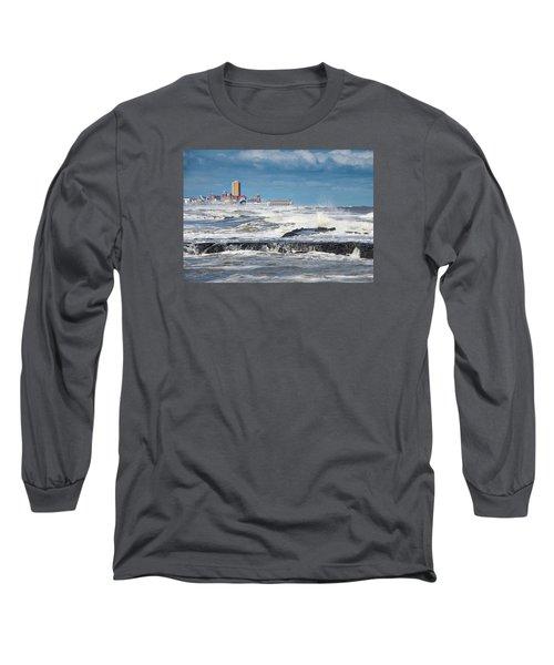 Battering The Seawall At Shark River Inlet Long Sleeve T-Shirt by Gary Slawsky