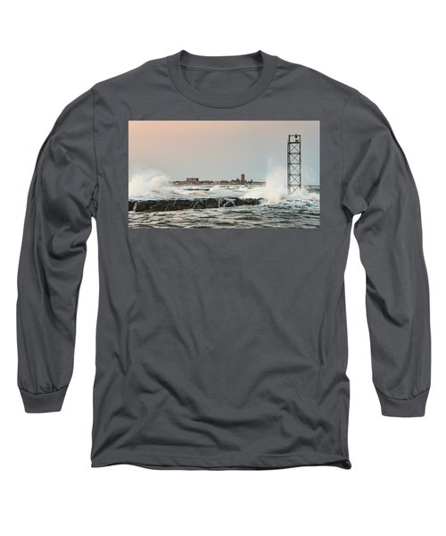 Battering The Shark River Inlet Long Sleeve T-Shirt by Gary Slawsky