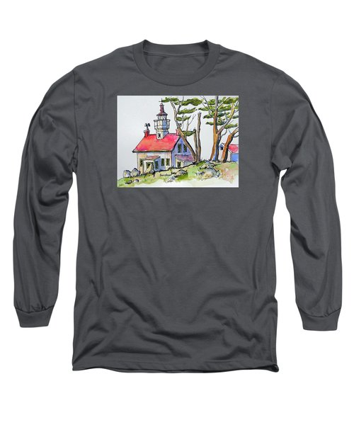 Long Sleeve T-Shirt featuring the painting Battery Point Lighthouse by Terry Banderas