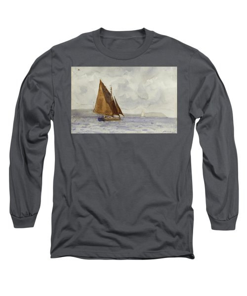 Long Sleeve T-Shirt featuring the painting Bawley Running Up The Coast by Henry Scott Tuke