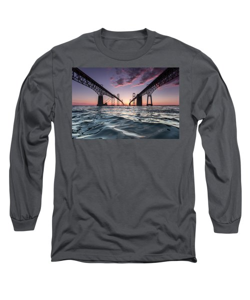 Long Sleeve T-Shirt featuring the photograph Bay Bridge Twilight by Jennifer Casey