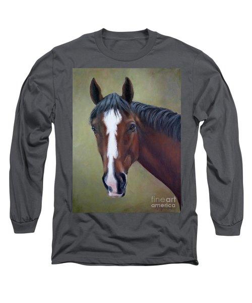 Bay Thoroughbred Horse Portrait Ottb Long Sleeve T-Shirt