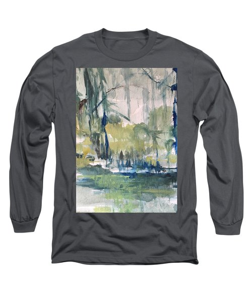 Bayou Blues Abstract Long Sleeve T-Shirt by Robin Miller-Bookhout
