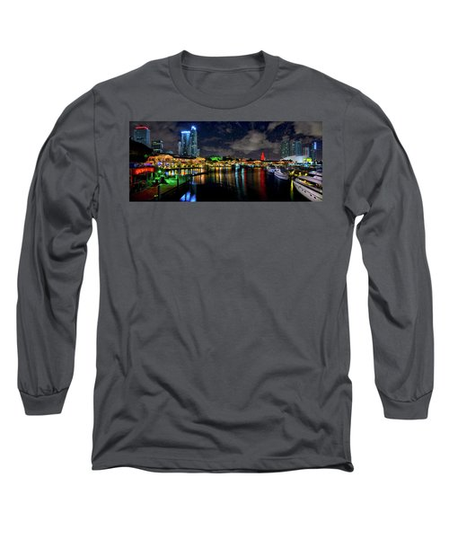 Bayside Miami Florida At Night Under The Stars Long Sleeve T-Shirt by Justin Kelefas