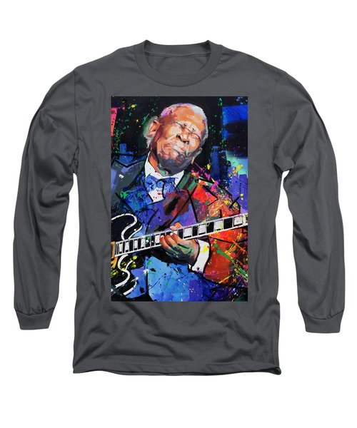 Bb King Portrait Long Sleeve T-Shirt by Richard Day