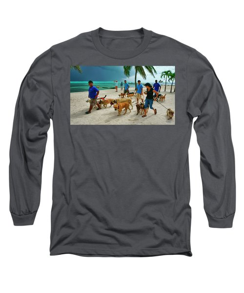 Beach Dog Walkers On Ambergris Caye, Belize Long Sleeve T-Shirt
