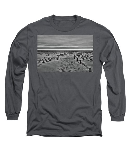 Beach Entry In Black And White Long Sleeve T-Shirt by Paul Ward