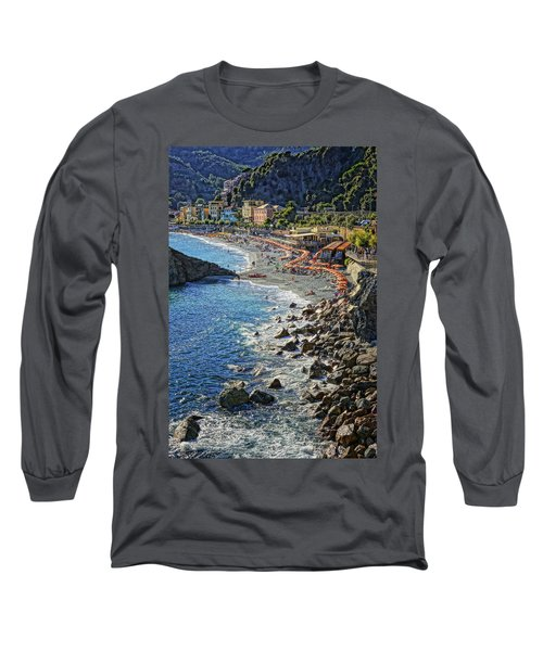 Beach Monterosso Italy Dsc02467 Long Sleeve T-Shirt by Greg Kluempers