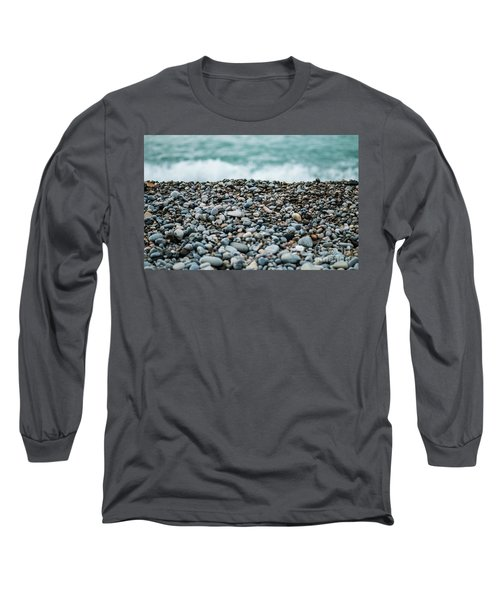 Long Sleeve T-Shirt featuring the photograph Beach Pebbles by MGL Meiklejohn Graphics Licensing