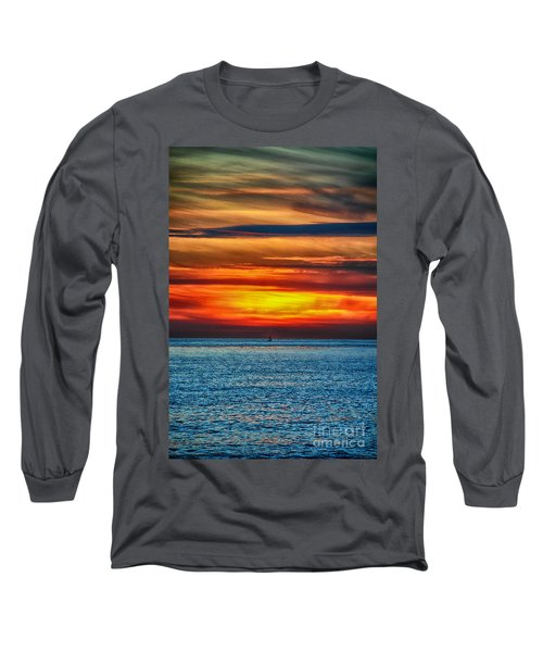 Long Sleeve T-Shirt featuring the photograph Beach Sunset And Boat by Mariola Bitner