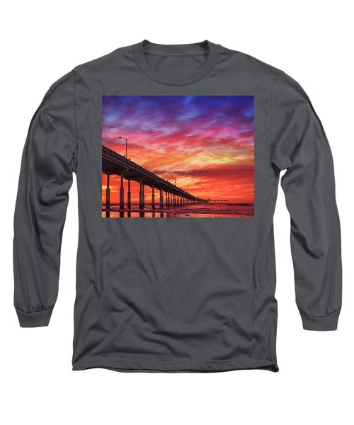 Beach Sunset Ocean Wall Art San Diego Artwork Long Sleeve T-Shirt