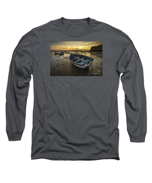 Beached Boat On La Caleta Cadiz Spain Long Sleeve T-Shirt by Pablo Avanzini