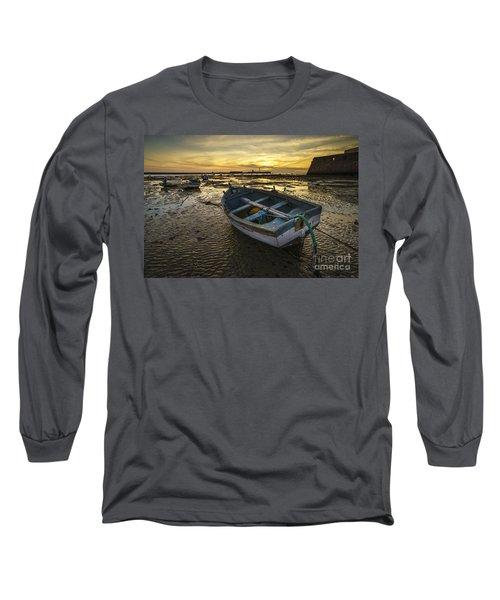 Beached Boat On La Caleta Cadiz Spain Long Sleeve T-Shirt