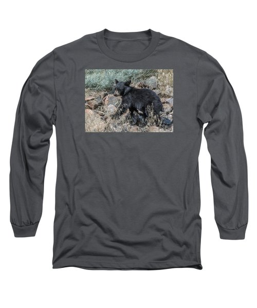 Bear Cub Walking Long Sleeve T-Shirt by Stephen  Johnson