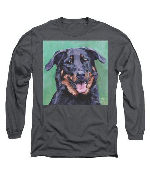 Long Sleeve T-Shirt featuring the painting Beauceron Portrait by Lee Ann Shepard