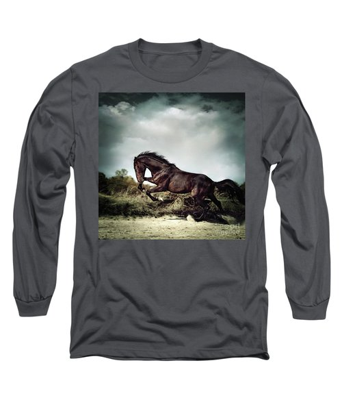Beautiful Black Stallion Horse Running On The Stormy Sky Long Sleeve T-Shirt