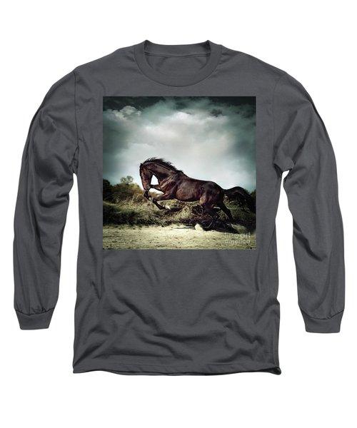 Beautiful Black Stallion Horse Running On The Stormy Sky Long Sleeve T-Shirt