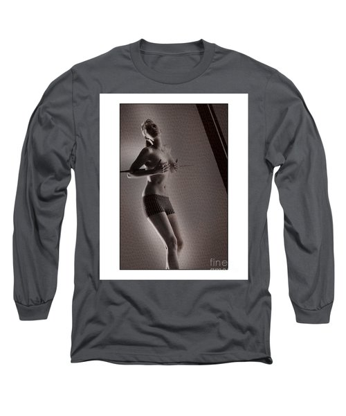 Beautiful Blonde Holding Her Breasts Long Sleeve T-Shirt by Michael Edwards