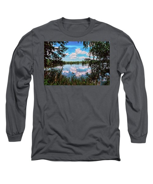 beautiful forest lake in Sunny summer day Long Sleeve T-Shirt