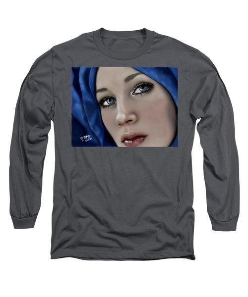 Beautiful Girl In Blue Long Sleeve T-Shirt