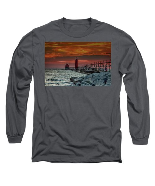 Sunset At Grand Haven Pier Long Sleeve T-Shirt