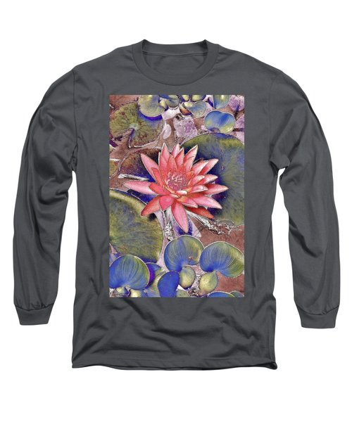 Long Sleeve T-Shirt featuring the photograph Beautiful Pink Lotus Abstract by Kim Bemis
