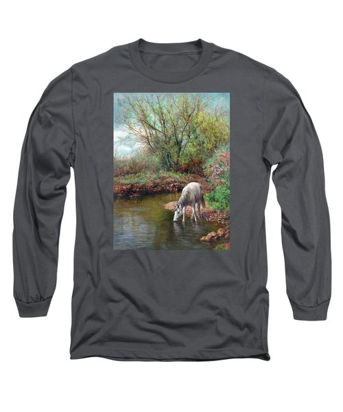 Beautiful White Horse And Enchanting Spring Long Sleeve T-Shirt by Svitozar Nenyuk