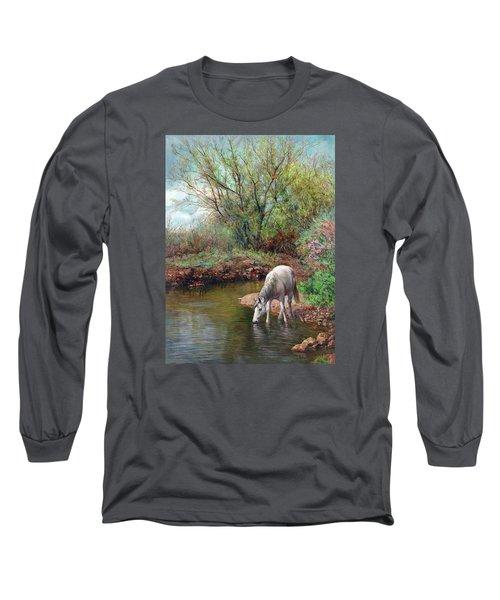 Beautiful White Horse And Enchanting Spring Long Sleeve T-Shirt