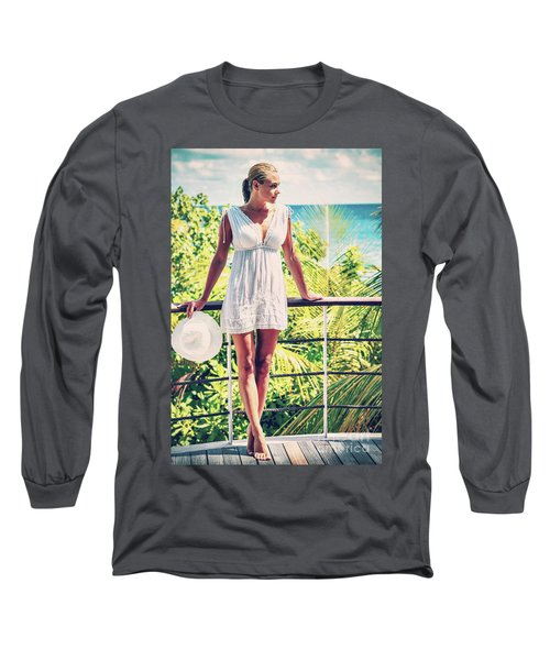 Beautiful Woman In The Beach House Long Sleeve T-Shirt