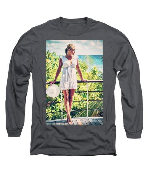 Beautiful Woman In The Beach House Long Sleeve T-Shirt