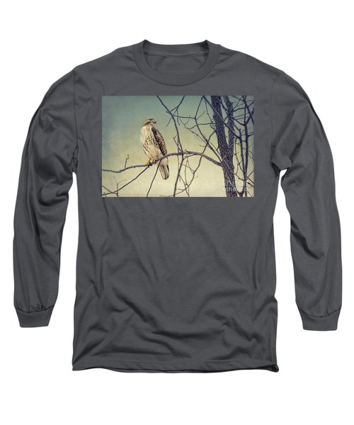 Red-tailed Hawk On Watch Long Sleeve T-Shirt