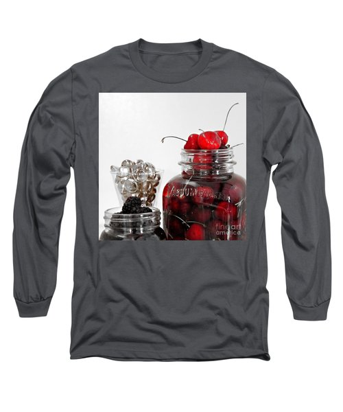 Beauty Of Red Cherries Long Sleeve T-Shirt by Sherry Hallemeier