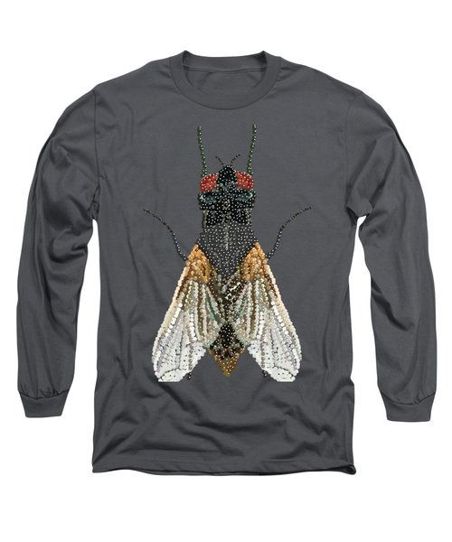 Bedazzled Housefly Transparent Background Long Sleeve T-Shirt