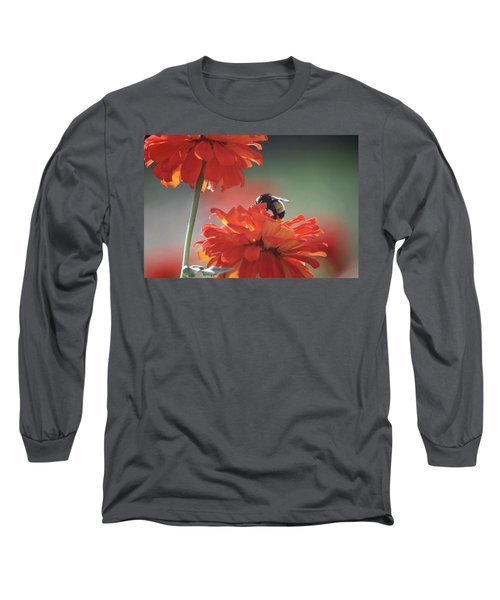 Long Sleeve T-Shirt featuring the photograph Bee And Flower I by Donna G Smith