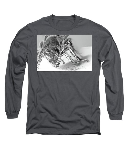 Long Sleeve T-Shirt featuring the photograph Bee In Macro Chrome by Micah May