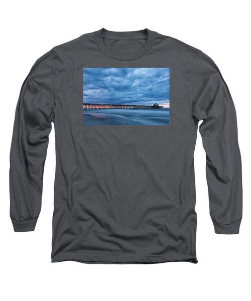 Before Sunrise At Folly Beach Pier, South Carolina Long Sleeve T-Shirt