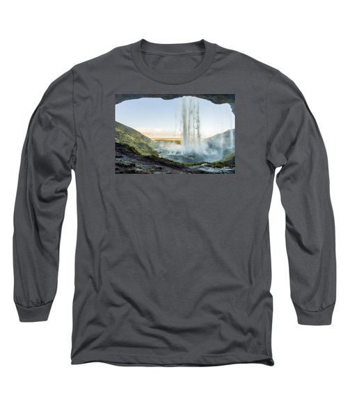 Long Sleeve T-Shirt featuring the photograph Behind Seljalandsfoss by James Billings