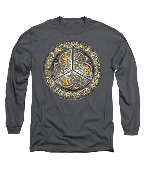 Bejeweled Celtic Shield Long Sleeve T-Shirt by Kristen Fox