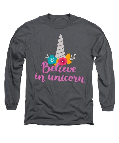 Believe In Unicorn Long Sleeve T-Shirt by Edward Fielding