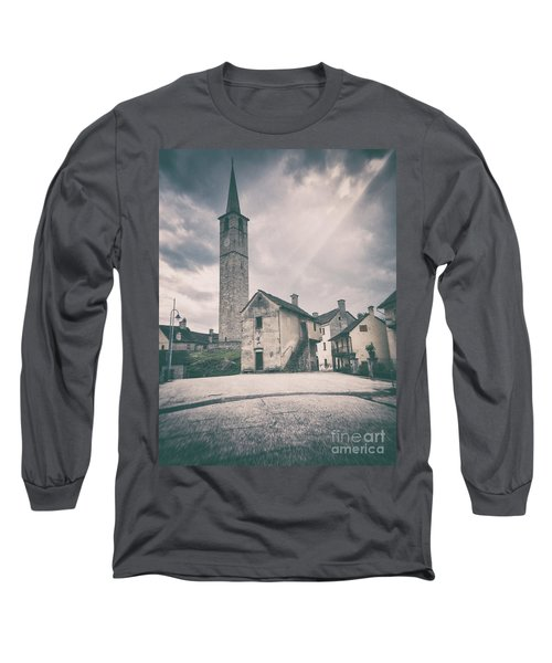 Long Sleeve T-Shirt featuring the photograph Bell Tower In Italian Village by Silvia Ganora